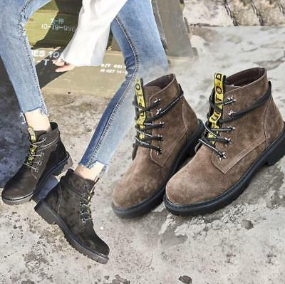66025ff29f66d Womens Girls Combat Army Punk Goth Biker Flat Lace Up Ankle Boots School  Shoes