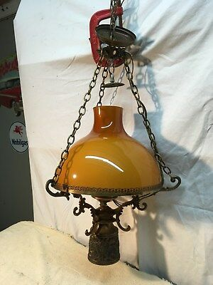 Vtg Farm House Brass/Glass  Hanging Hurricane Lantern Kitchen Ceiling Light