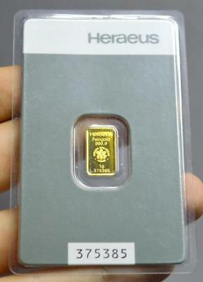 Heraeus 1 Gram Gold 999 Bar Bullion Sealed Investment