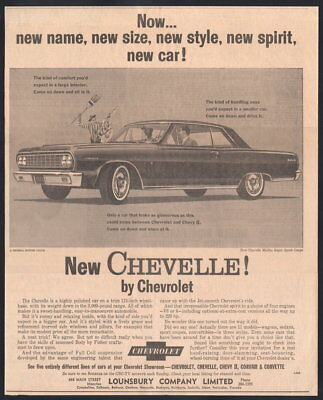 1964 Canadian Chevrolet ad Chevelle Malibu SS Coupe Curling Lounsbury NB