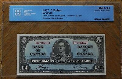 1937 $5 Coyne/Towers  Canada Bank Note Certified UNC-63