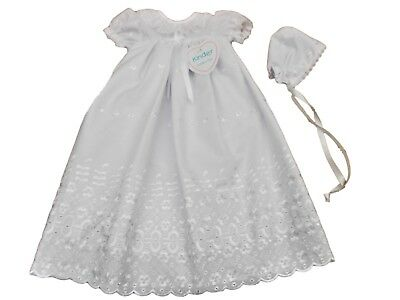 BNWT Premature preemie Tiny Baby white christening baptism gown Made in U.K