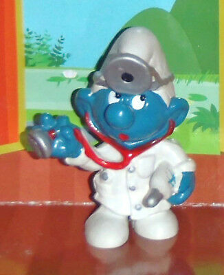 Vintage Doctor Smurf With A Thermometer & Stethoscope 1978 Smurf Lot
