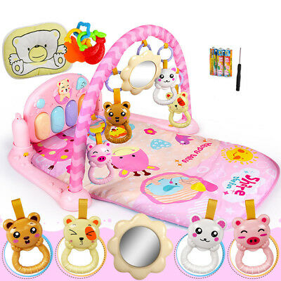 Baby Gym Play Mat Lay & Play Fitness Music And Lights Fun Piano Boy Girl Playmat