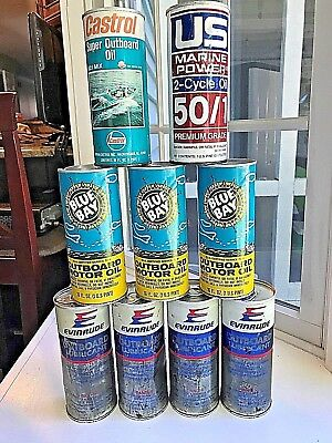Vintage Lot Of 9-16 Oz Outboard 2 Cycle Motor Oil Cans Castrol Blue Bay Evinrude