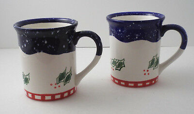 Smuckers Holly & Berry Holiday Mugs/Cups ~ Set of 2 ~ 16 oz ~ Collectible