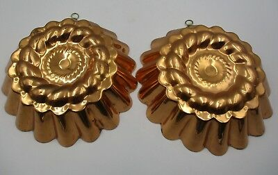 Antique Victorian Pair of Copper Jelly Casts Moulds