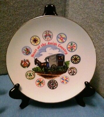 """Heart of the Amish Country Collector Plate 8"""" Great Colors Gold Rimmed NICE!"""