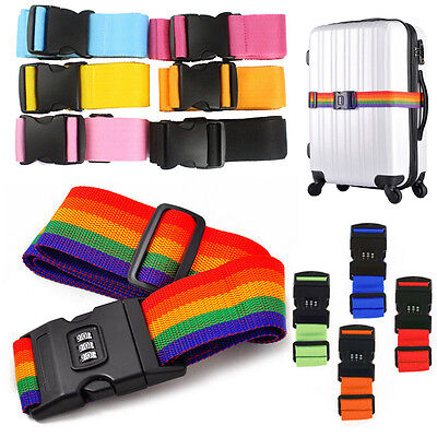 Adjustable Suitcase Luggage Baggage Straps Combination Lock Belt Tie Down ToolsP