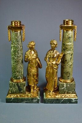 Pair Antique 19th C. First Empire French Gilt Bronze & Marble Candlesticks