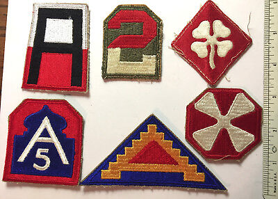 LOT of Six U.S. Army Shoulder Patches -- 1st, 2nd, 4th, 5th, 7th, and 8th Army