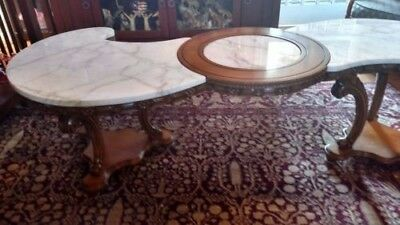 Antique Coffee table and end table - Italian Marble and carved wood.