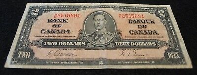 1937 Bank of Canada 2 Dollar Note in VG Condition NICE OLD Collectible Note!