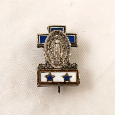 WWII Sterling Silver & Enamel Catholic Mary Pray for Us 2 Sons in Service Pin
