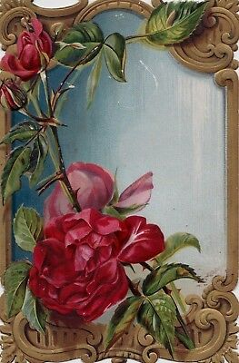 Antique Victorian Valentine's Greetings Card Lovely Red Roses Die Cut Embossed