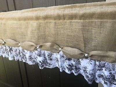 """Vintage Lace Valance BURLAP rustic Curtain SHABBY French Chic Cream FLOWERS 72"""""""