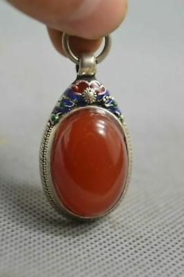 Collectable Handwork Decor Miao Silver Carve Flower Inlay Agate Elegant Pendant
