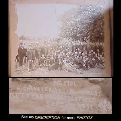 Rare 1897 Lg Albumen Photograph Civil War High Water Monument Reunion Gettysburg