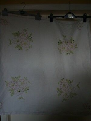 Vintage hand embroidered  table cloth ~ 1950's/1960's  33 x 32 inches approx