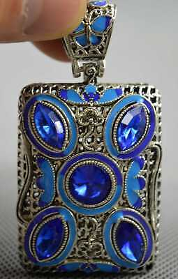 Exquisite Collectable Decor Miao Silver Carve Flower Inlay Agate Noble Pendant
