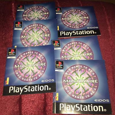 6 x manuals for who wants to be a millionaire ps1 NO GAME DISC INCLUDED
