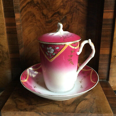 Russian Porcelain Cup Saucer And Cover Kuznetsov Imperial Era