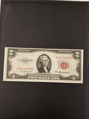 Note 1953 2 Dollar Bill Red Seal Note Paper Money Error note