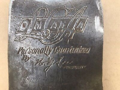 "Vintage Embossed LCA Omaha Single Bit Axe Head ""Personally Guaranteed By HJ Lee"""