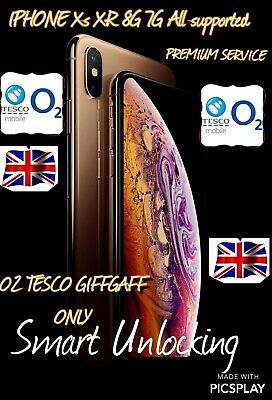 IPHONE Xs Xs plus XR X 8 8plus o2 tesco premium unlocking 1-100  hours fastest