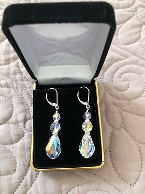 swarovski ab Leverback Earrings