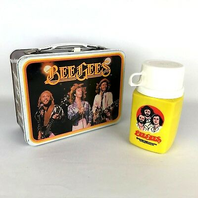 Vintage 1978 BeeGees Collectible Metal Lunchbox Thermos 70s Set Maurice Gibb