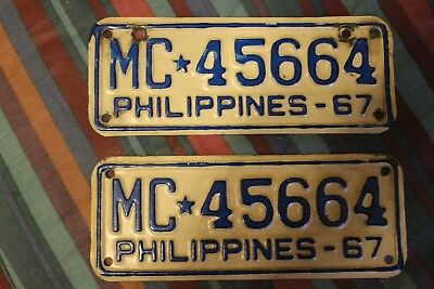 (2)-philippines 1967 motorcycle license plates matching pair