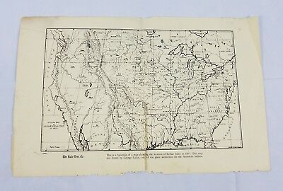 George Catlin American Indian Tribe Map 1833 Vintage Map Halle Bros. Co. vtg