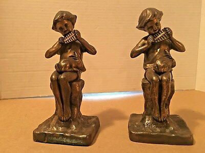 Vintage Pair of Cast Bronze Boy Sculpture Playing a Pan Flute