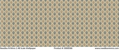 1:48 Scale Wallpaper Charcoal and Tan Damask - 2 Sheets - 0000586