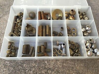 Lot Of Antique/vintage Brass Lamp Parts-Brass Ball Finials-Nuts-Washers-More!