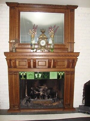 Antique Tiger Oak fireplace Mantle w/ Beveled Mirror Gorgeous