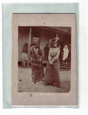 1800's Native American Indian & Well Dressed Woman Settler Deadwood Tombstone