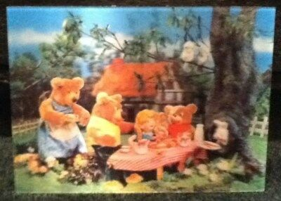 Goldilocks And The Three Bears Postcard W.C. Jones 3D Lenticular Japan 1966