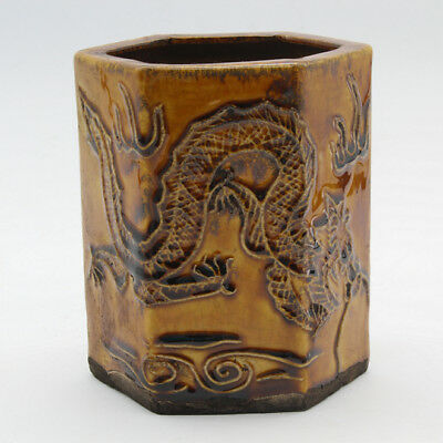 Chinese antique hand-carved yellow glaze porcelain dragon pattern brush pot c01