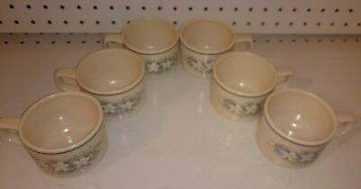 Set of 6 Vintage Lenox Temper-Ware Dew Drops Blue Flower Pattern Coffee Cups
