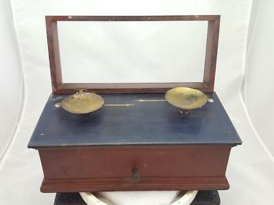 Antique Vintage Boxed Two Pan Balance Scale Apothecary