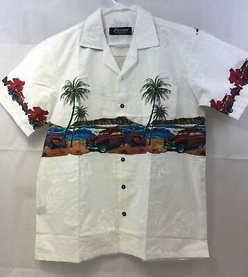61acf4ed Favant Short Sleeve Button Front White Floral Hawaiian Shirt Mens Size L  NWOT