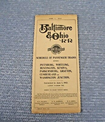 June 1912  BALTIMORE & OHIO B&O RR TRAIN TIME TABLE