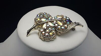 Large Vtg High End Leaf Brooch White Aurora Borealis Cabochon Navettes 3""
