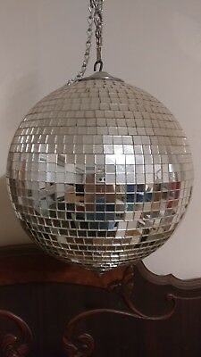 Vintage 70's Disco Ball Mirrored Spinning Dance Party 16 in