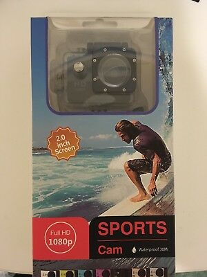 Action Camera, 12MP 1080P 2 inch LCD Screen, Waterproof Sports Cam 120 Degree
