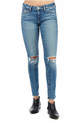 True Religion Womens Halle Midrise Skinny Leg Jean Worn Wicked Blue 31 Inseam