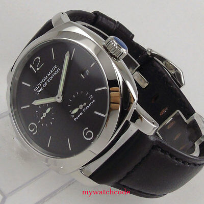 44mm Parnis factory black dial date power reserve ST2530 Automatic Mens Watch