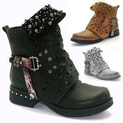 Women Studded Goth Zip Combat Ankle Boots Hollow Carved Tube Buckle Martin Boots